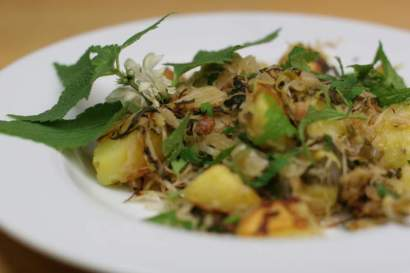 Bratkartoffeln mit Taubnesseln und Sauerkraut